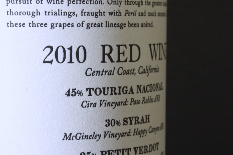 Coalition 2010 Red Wine Label - Closeup
