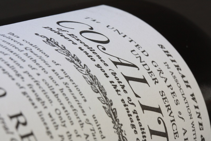 Coalition 2010 Red Wine Label - Closeup