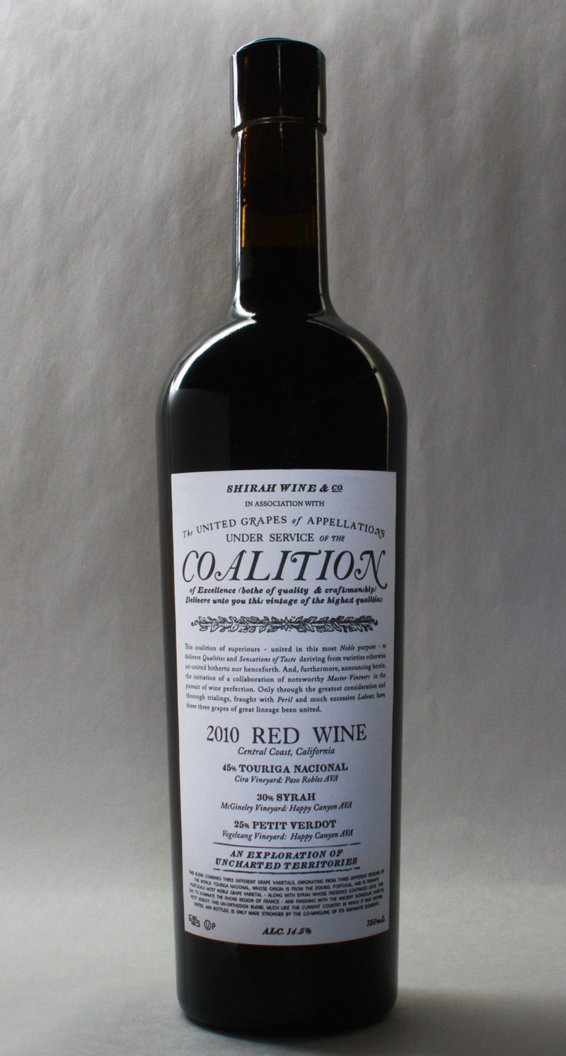 Coalition 2010 Red Wine Label - Full Bottle
