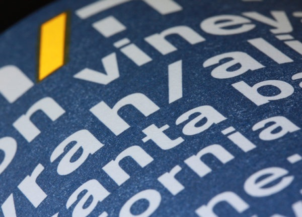 Shirah Wine Single Vineyard Wine Label - Close Up