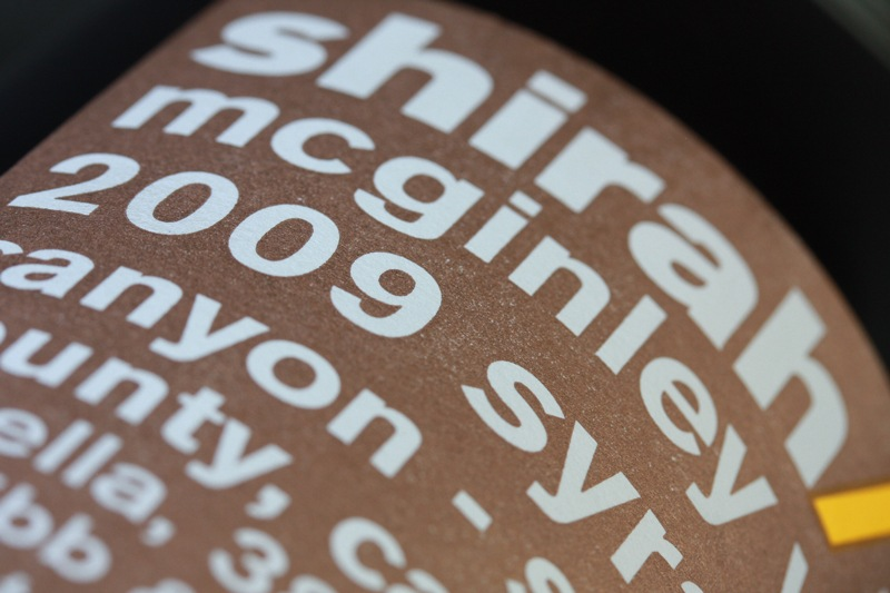 Shirah Wine Single Vineyard Wine Label - Close Up