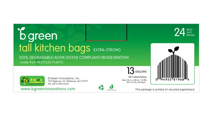 B Green Tall Kitchen Bags Package Design - Back Panel