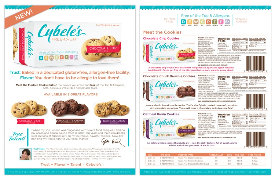 Sales Sheet for Cybele's new Cookies Line.