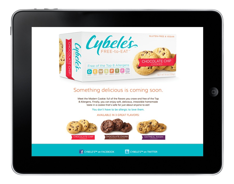 Cybele's brand website splash page.