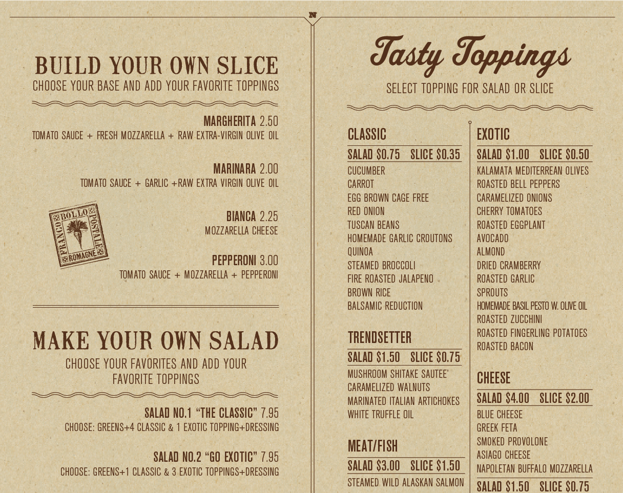 Napizza Table Menu
