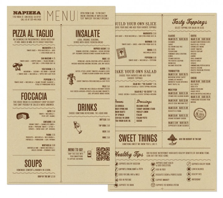 Restaurant brand identity napizza miller creative for Table menu restaurant