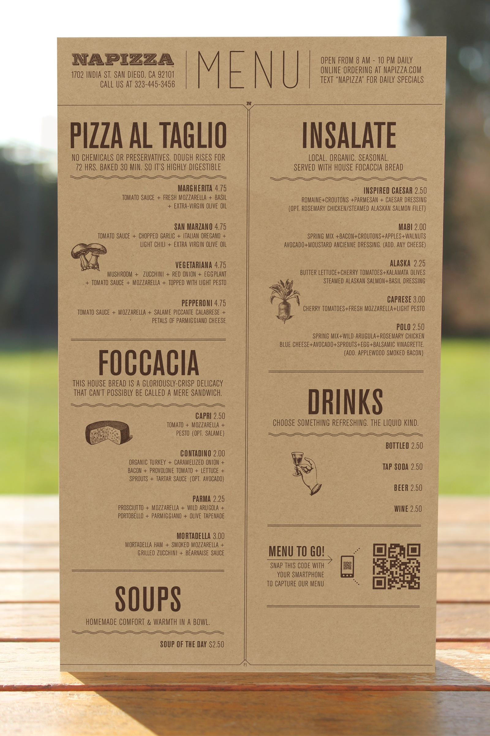 Napizza Menu