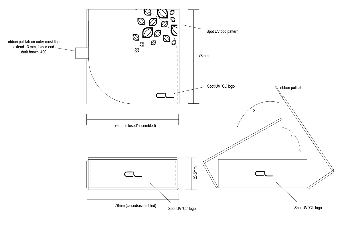 Production Diagram and elevation for chocolate gift box.