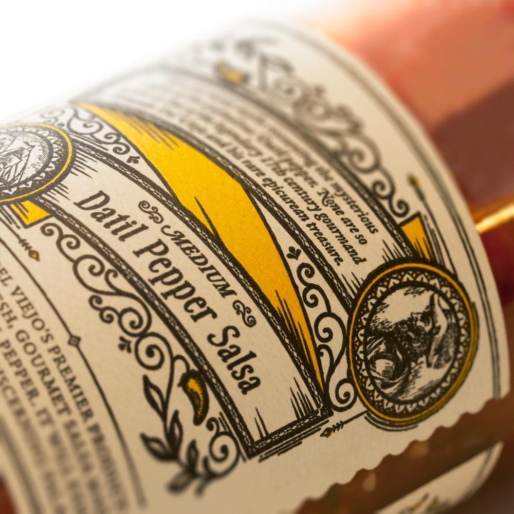 Close Up of Back Label for Del Viejo Salsa Jar