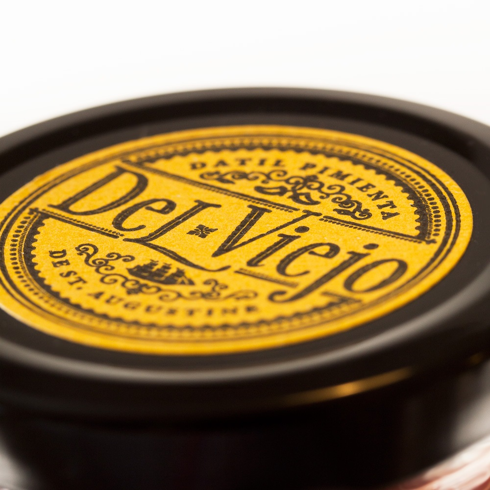 Close Up of Lid Label for Del Viejo Salsa Jar