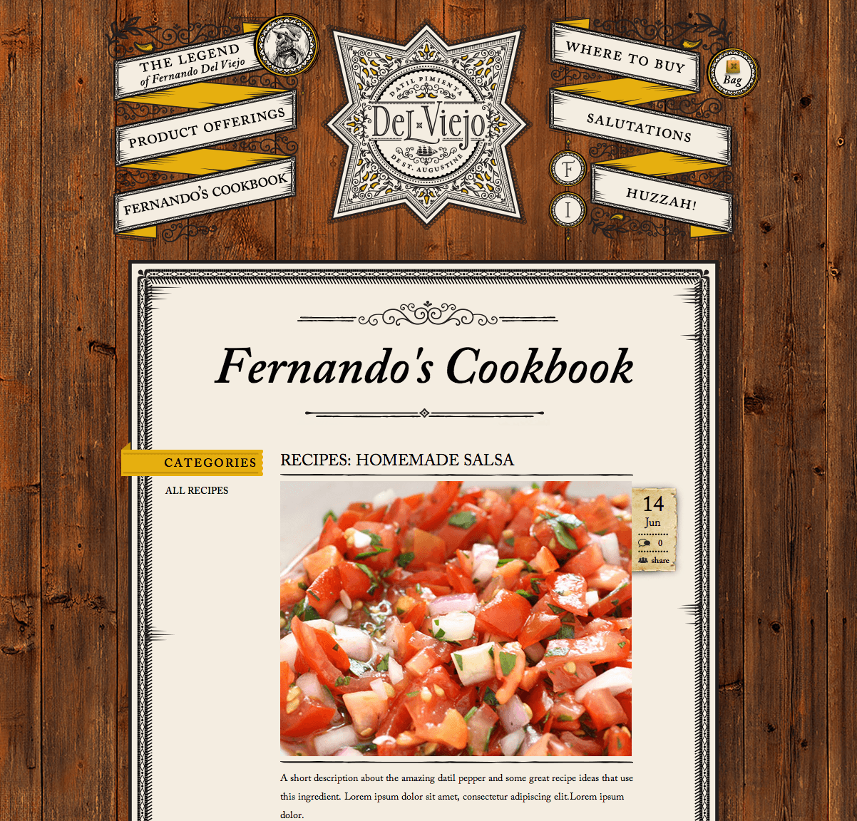 Recipes Section of Del Viejo Website