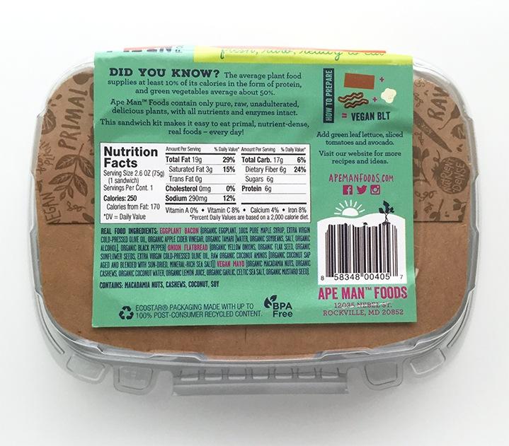 Ape Man Foods Raw Paleo Vegan Back of Package Label
