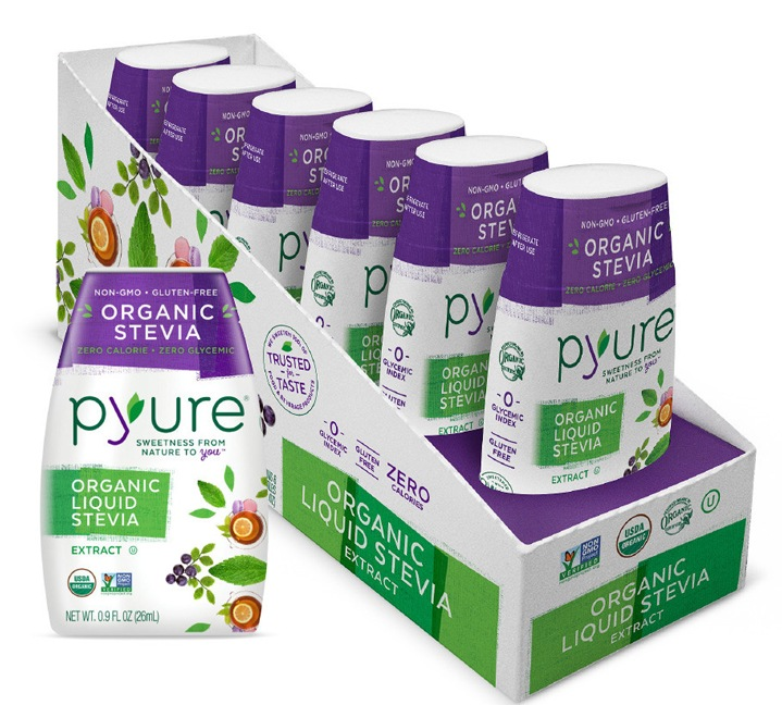 Pyure Sweetener - Stevia Drops Display & Bottle