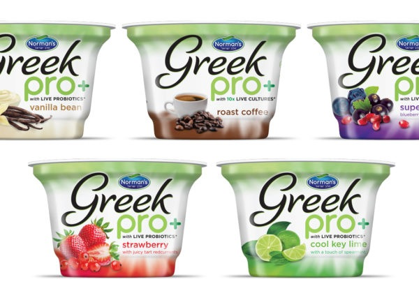 Norman's Greek Pro+ Yogurt Vibrant Packaging Design