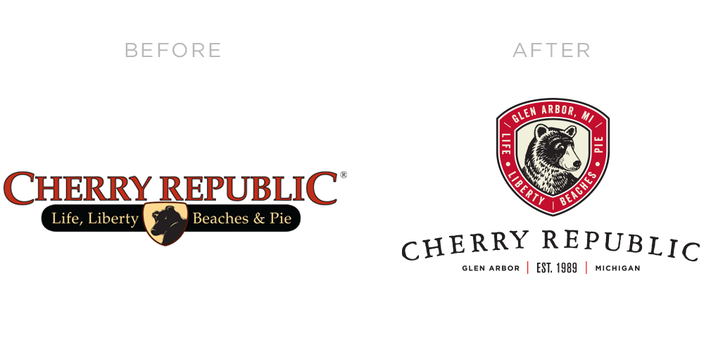Cherry Republic Rebrand Logo Before and After - by Miller