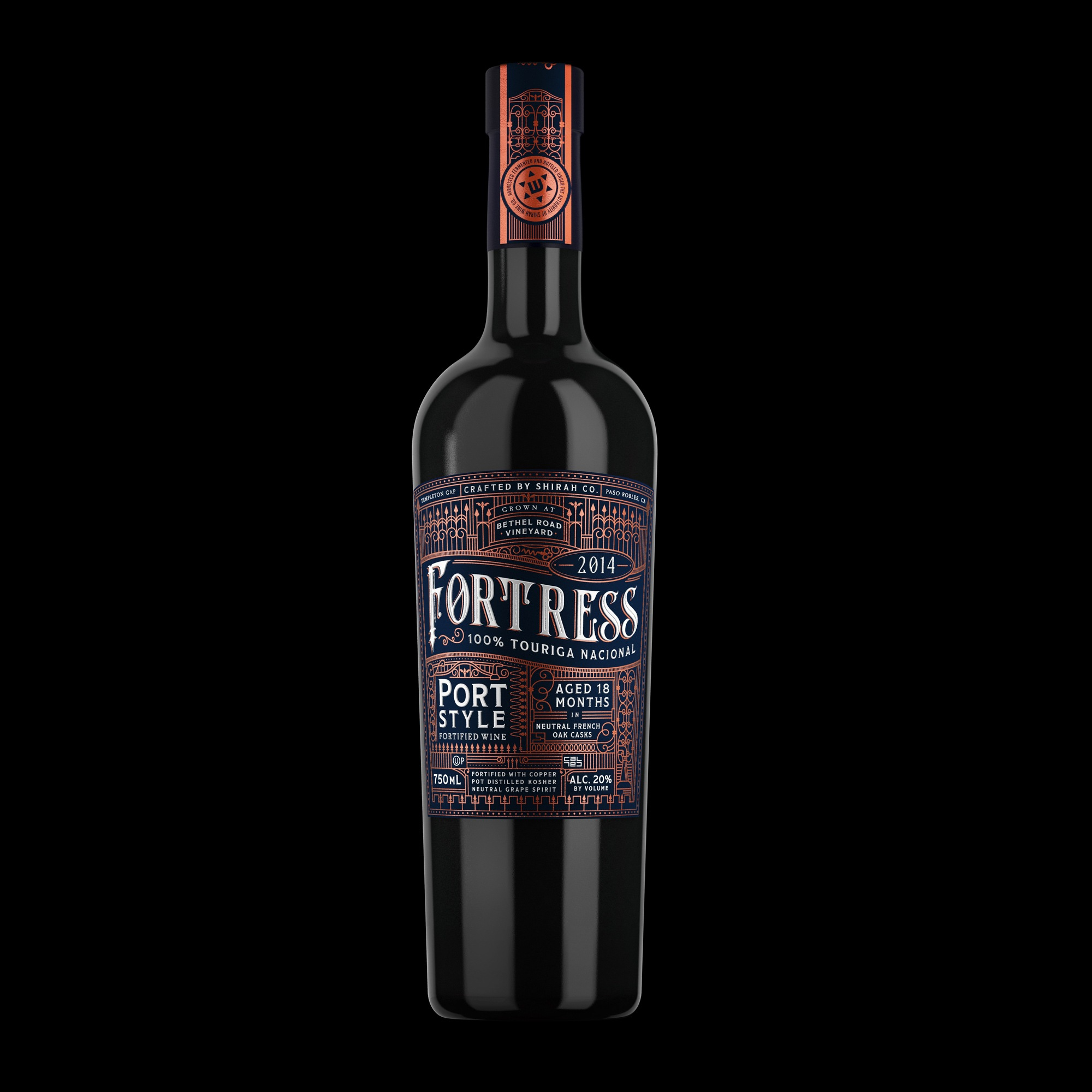 Fortress Port Wine Label Bottle