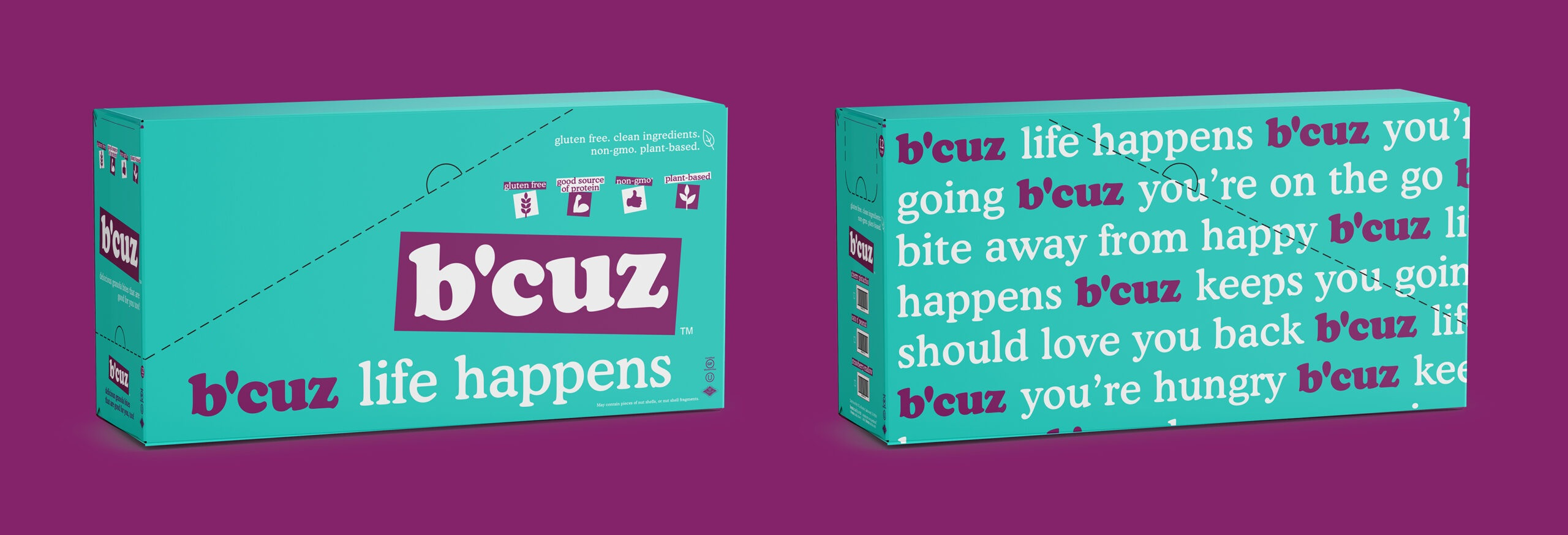 B'Cuz Branding and Packaging Granola Snacks Box