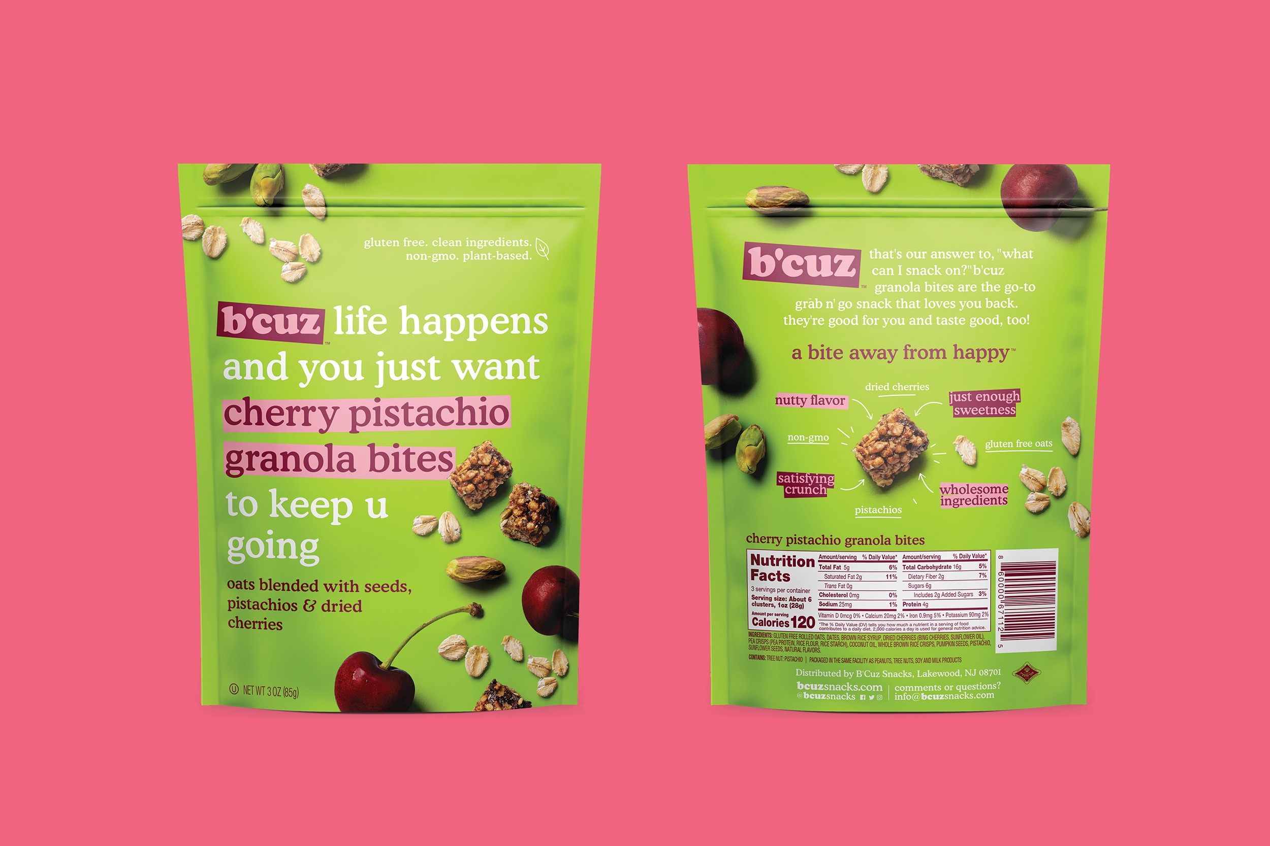 B'Cuz Branding and Packaging Granola Snacks Cherry Pistachio
