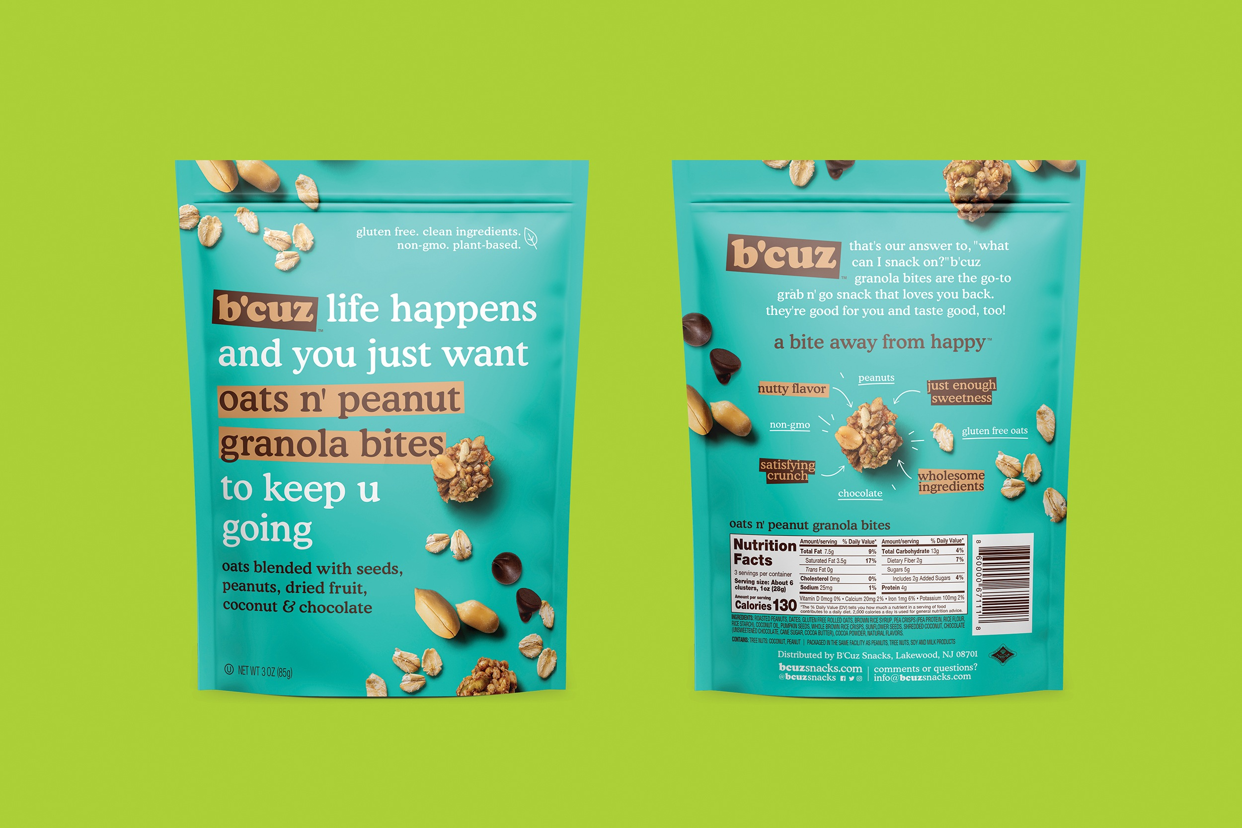 B'Cuz Branding and Packaging Granola Snacks Oats n Peanut