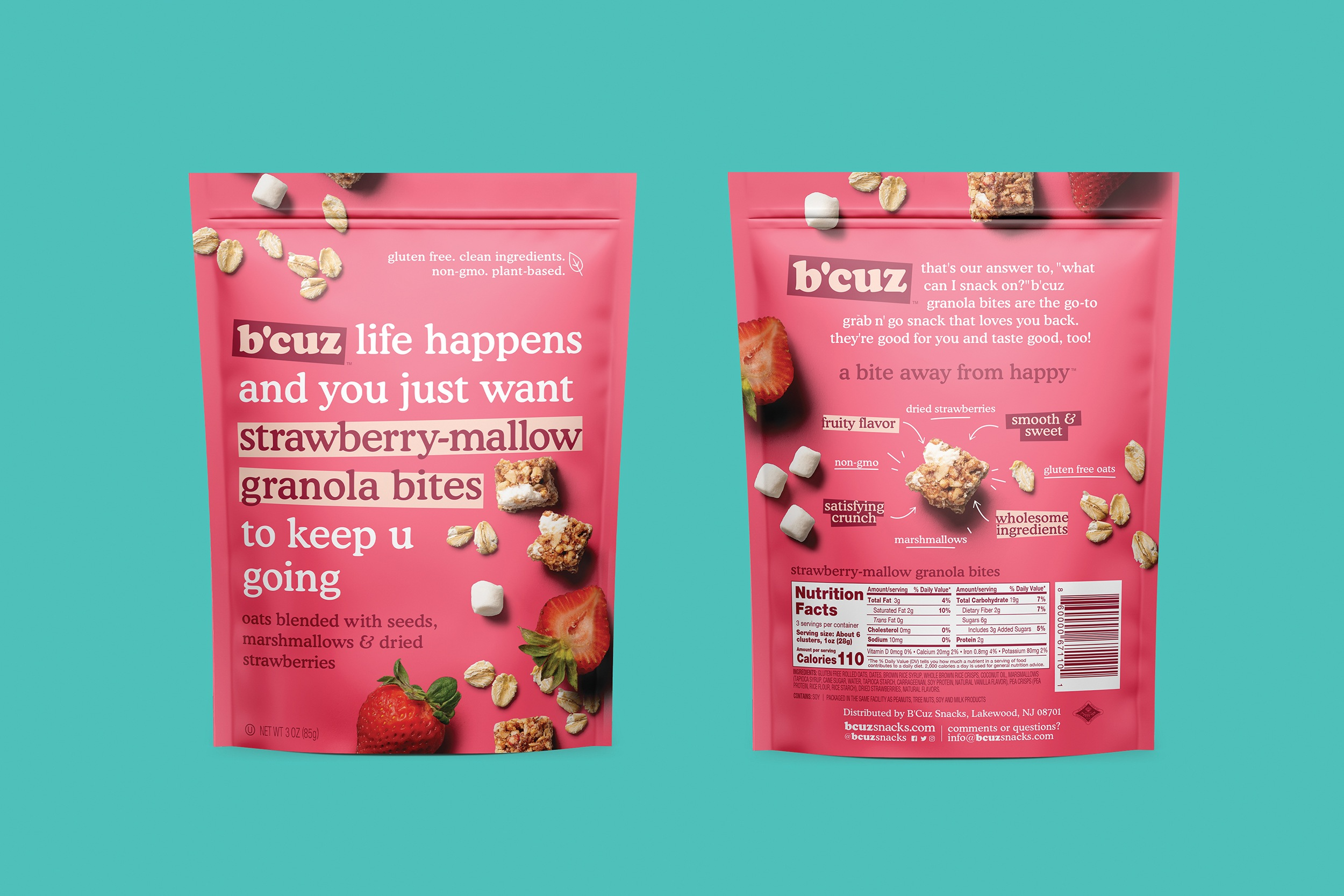 B'Cuz Branding and Packaging Granola Snacks Strawberry